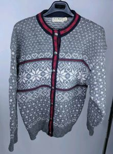 LL Bean L Cardigan Wool Blend Nordic Pewter Button